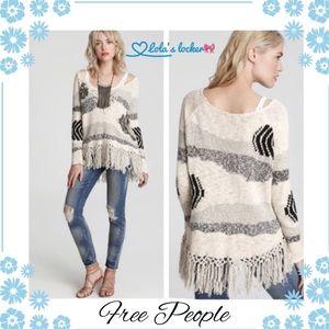 Free People Landscape Fringe Tunic Sweater